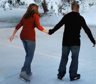 ice skating is a fun cheap date idea