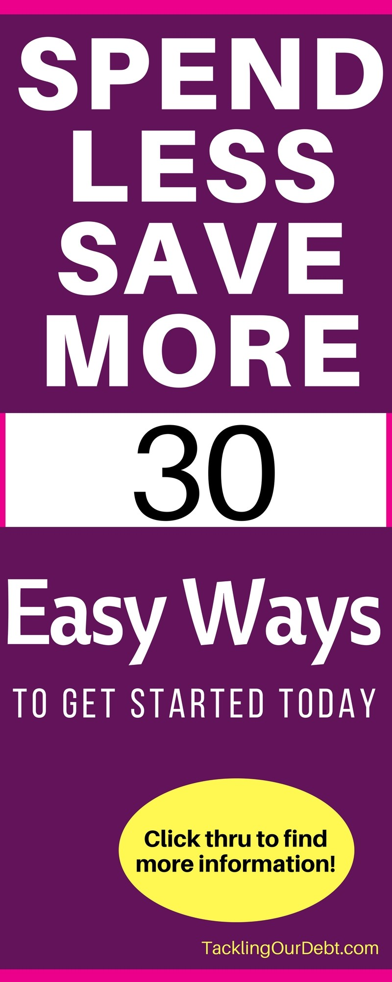 Learn how to spend less money so that you can save more money. Here are 30 easy ways to get started. Click thru to learn more!