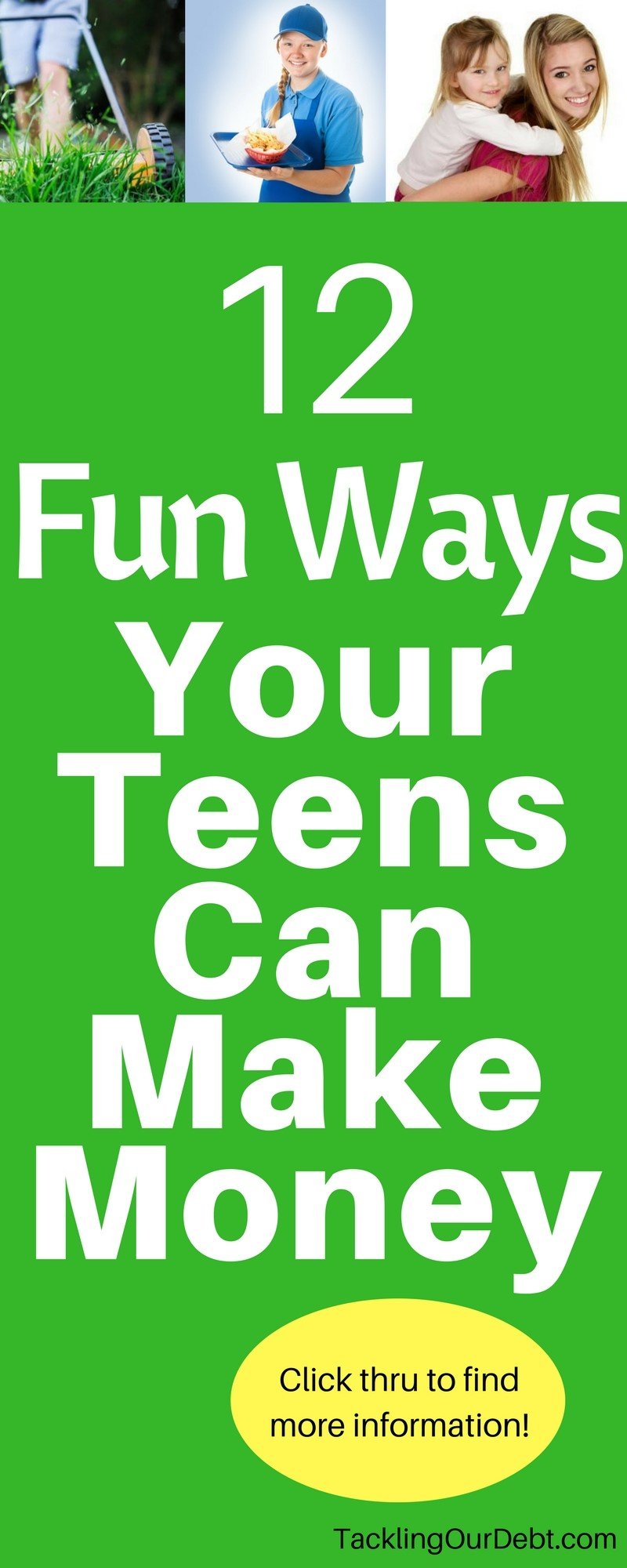 12 Fun Ways Your Teen Can Make Money Is your teen ready to begin making money? Here are some fun ways that they can do just that. Teach teens how to make money. Click thru to find more information!