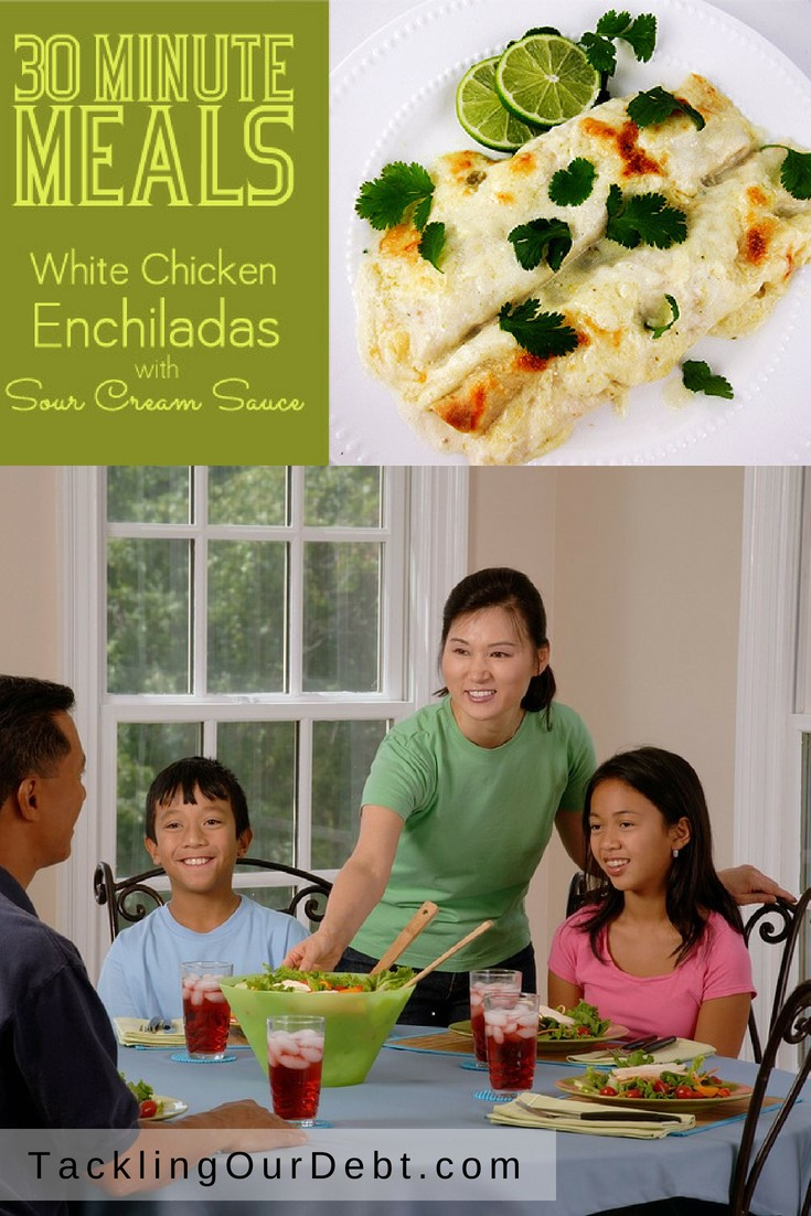 30 Minute White Chicken Enchiladas Today, I'm sharing White Chicken Enchiladas with Sour Cream Sauce that can be made in about 30 minutes.