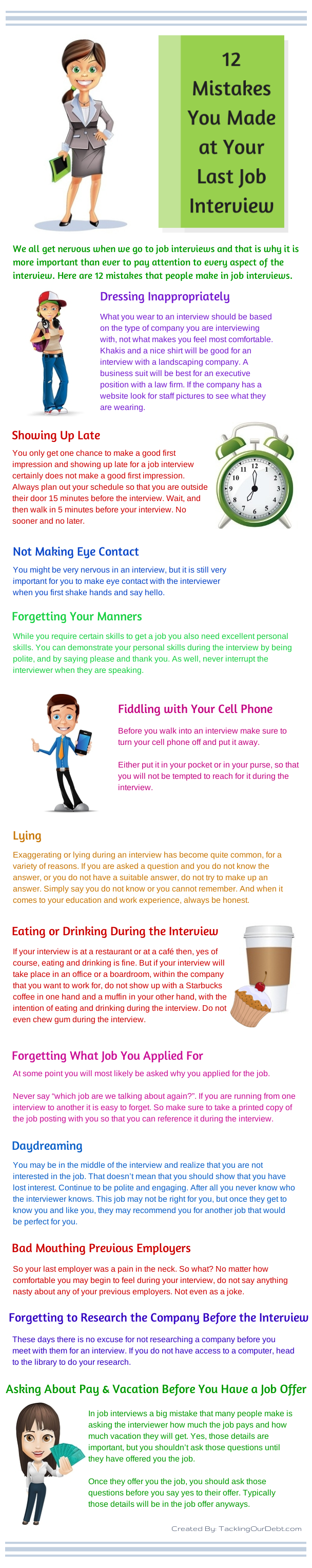 12 Mistakes You Made at Your Last Job Interview infographic